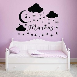 Nursery Wall Decal with Personalized Name  (WD-1146)