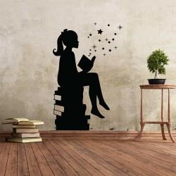 สติกเกอร์ติดผนัง Girl Reading Magic Book  / Wall Sticker  (WD-1152)