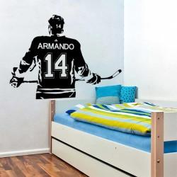 สติกเกอร์ติดผนัง ฮอกกี้น้ำแข็ง ใส่ชื่อได้ Ice hockey with Personalized Name & Number Wall Sticker (WD-1165)
